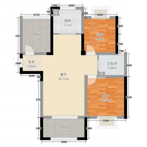 中奥珑郡2室1厅1卫1厨92.00㎡户型图