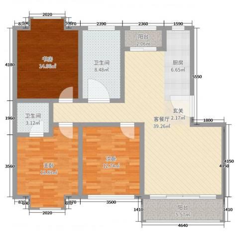 欧美世纪花园3室2厅2卫0厨125.00㎡户型图