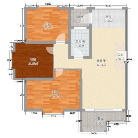 欧美世纪花园3室2厅1卫0厨112.00㎡户型图