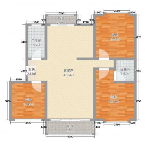 欧美世纪花园3室2厅2卫0厨135.00㎡户型图