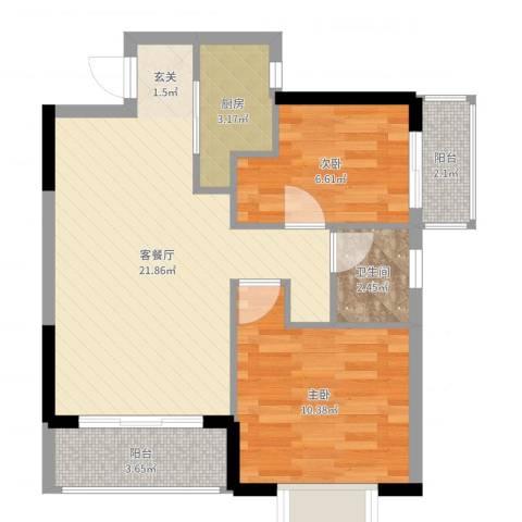 书香门第天一阁2室2厅1卫1厨63.00㎡户型图