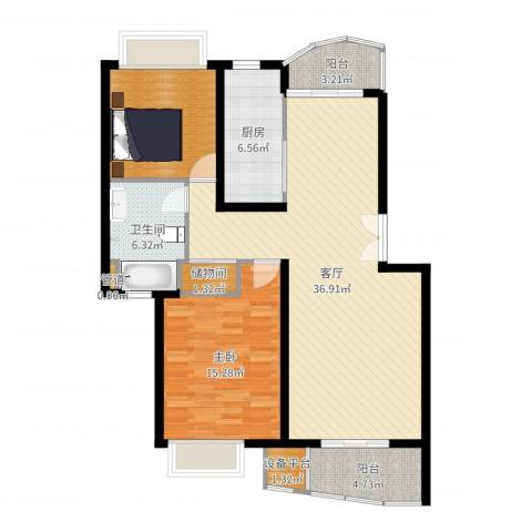 翡翠上南1室1厅1卫1厨107.00㎡户型图