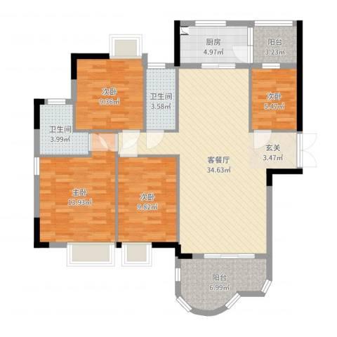 云山熹景4室2厅2卫1厨120.00㎡户型图