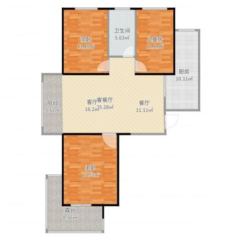 盟科涵舍3室2厅1卫1厨127.00㎡户型图