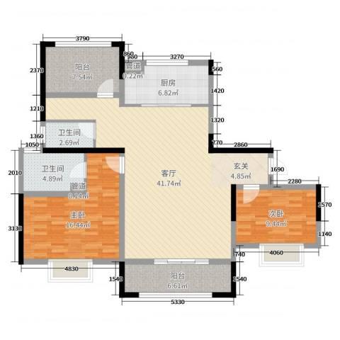 中奥珑郡2室1厅2卫1厨121.00㎡户型图