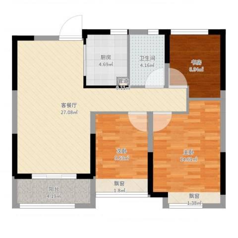 华润绿地・凯旋门3室2厅1卫1厨89.00㎡户型图