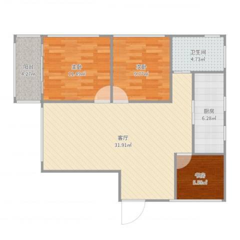 嘉定颐景园3室1厅1卫1厨93.00㎡户型图