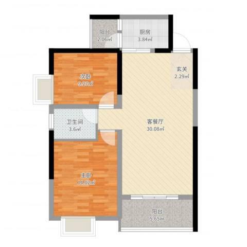 景翠名都2室2厅1卫1厨86.00㎡户型图