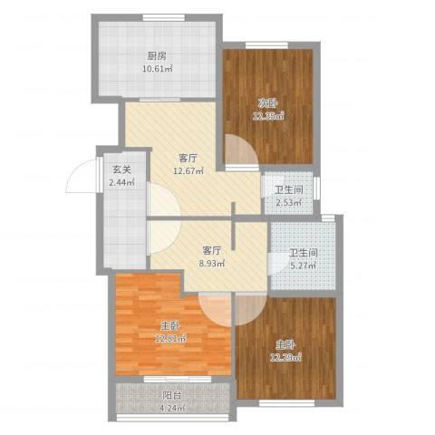 金苹果花园3室2厅2卫1厨110.00㎡户型图