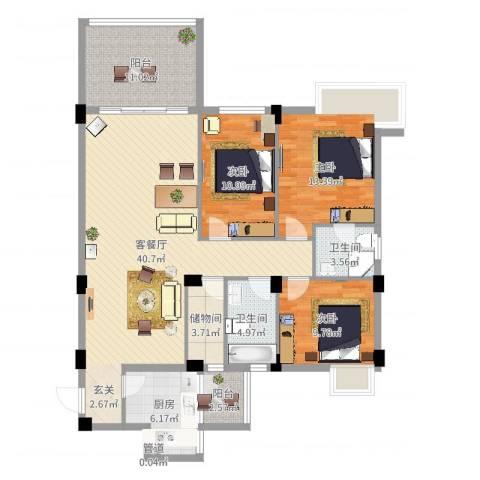 美洲花园E区2期3室2厅2卫1厨134.00㎡户型图