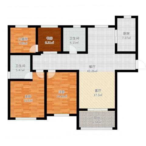 首开班芙春天4室1厅2卫1厨141.00㎡户型图