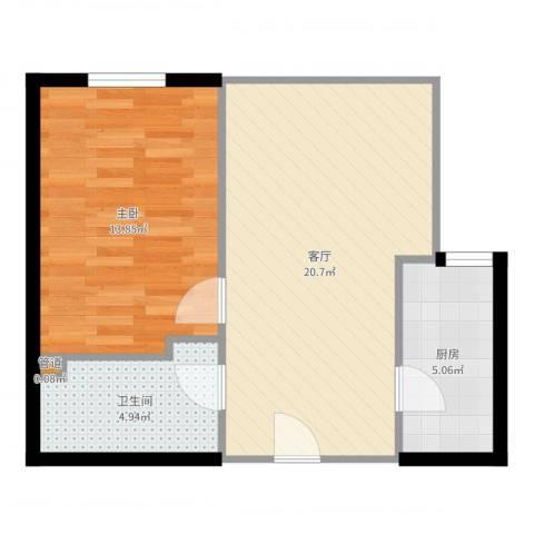 百子湾家园1室1厅1卫1厨56.00㎡户型图