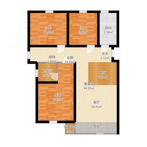 紫辰悦府3室2厅1卫1厨120.00㎡户型图