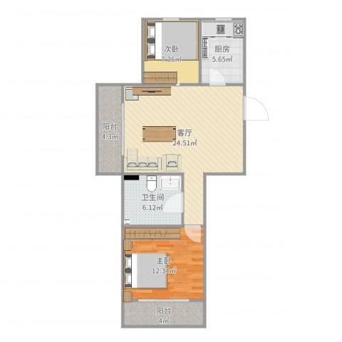 华夏山海城2室1厅1卫1厨80.00㎡户型图