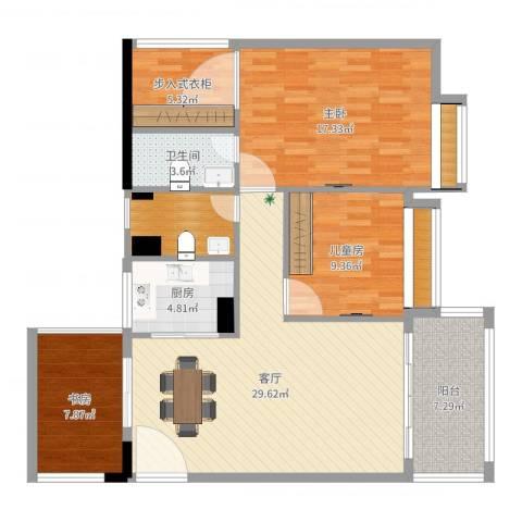 博达汇峰3室1厅1卫1厨115.00㎡户型图