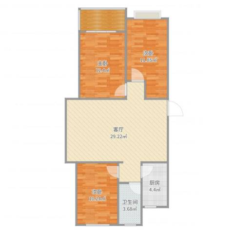 凯隆御景3室1厅1卫1厨95.00㎡户型图