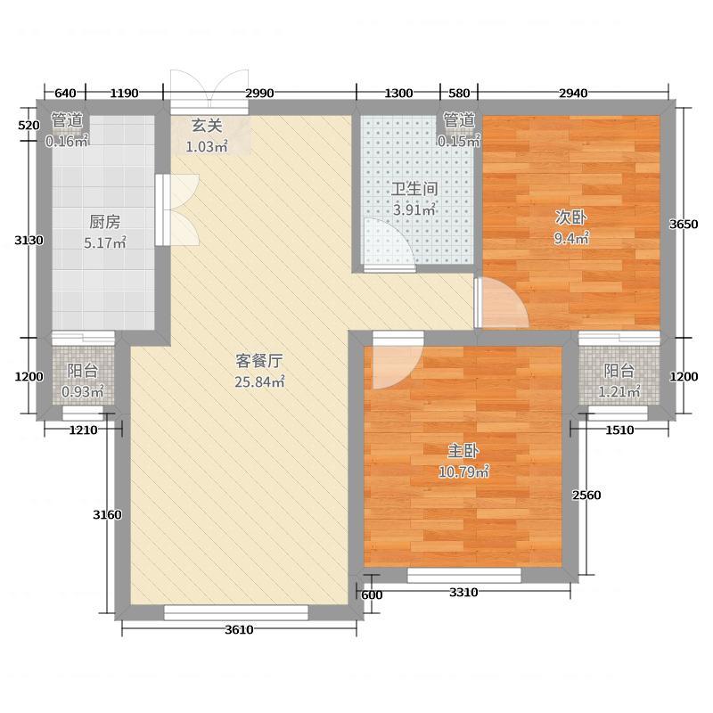 大西街・公园1号88.00㎡B户型2室2厅1卫