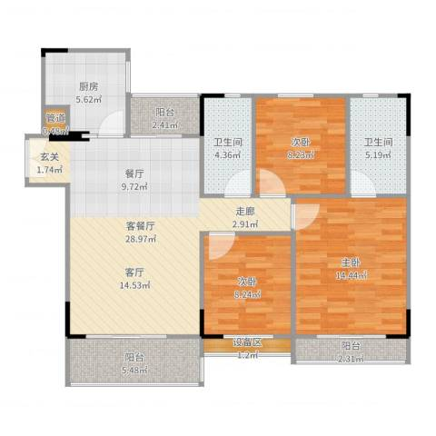 喜盈雅境3室2厅2卫1厨109.00㎡户型图