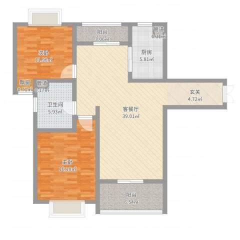 黄山湖公馆2室2厅1卫1厨111.00㎡户型图