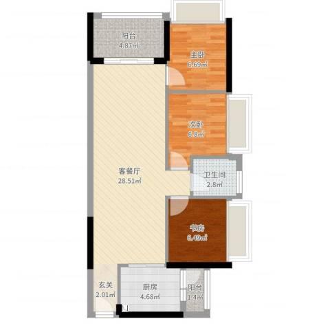 旭日领御3室2厅1卫1厨78.00㎡户型图