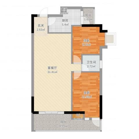 花都翠景苑2室2厅1卫1厨88.00㎡户型图