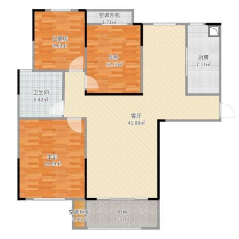 水映加州依云郡3室1厅1卫1厨129.00㎡户型图