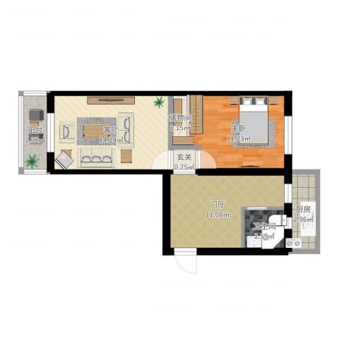 石景山杨庄小区42栋1室1厅1卫1厨59.00㎡户型图