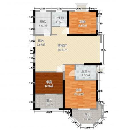 中南世纪城3室2厅2卫1厨124.00㎡户型图