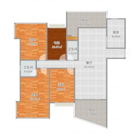 凯茵新城天誉4室1厅2卫1厨182.00㎡户型图
