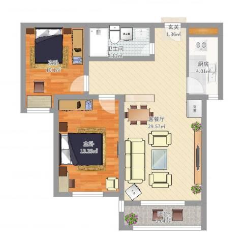 城市西景2室2厅1卫1厨81.00㎡户型图