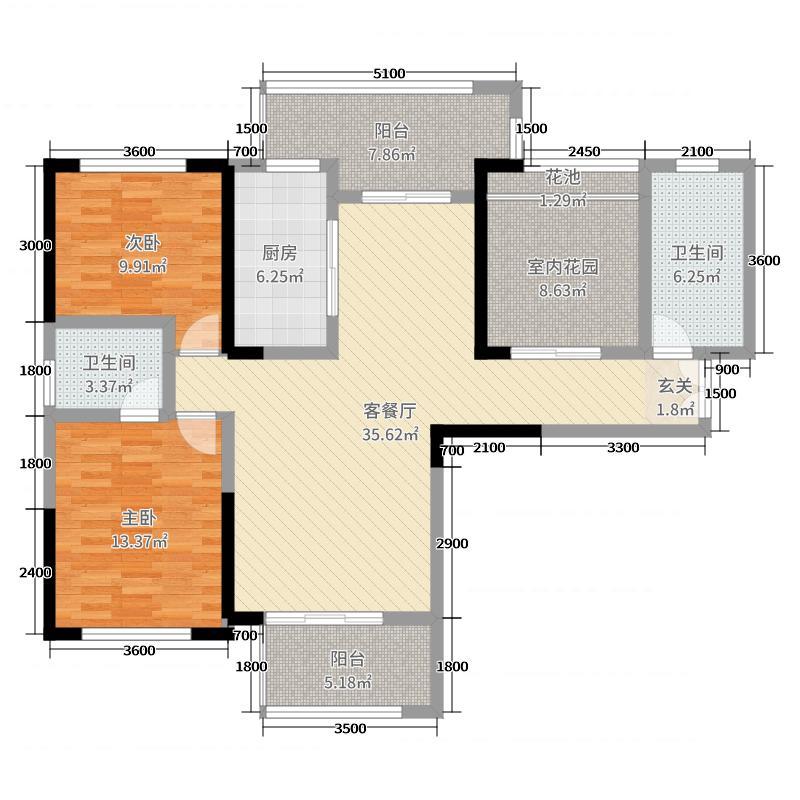 森嘉・幸福里124.91㎡3户型3室3厅2卫
