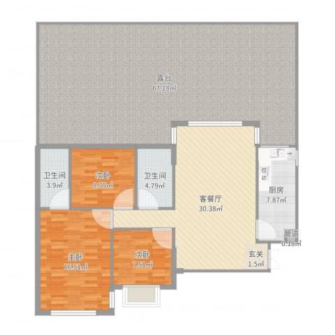 银城东方3室2厅2卫1厨184.00㎡户型图