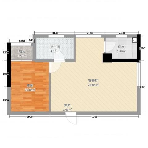 聚鑫2期阔座1室2厅1卫1厨45.33㎡户型图