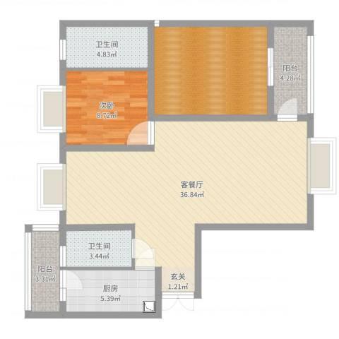 观山湖1号1室2厅2卫1厨102.00㎡户型图