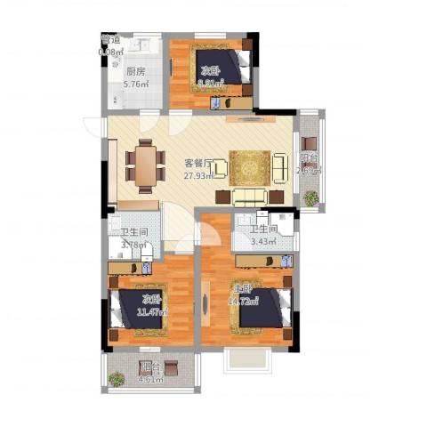 宝兴花园3室2厅2卫1厨104.00㎡户型图