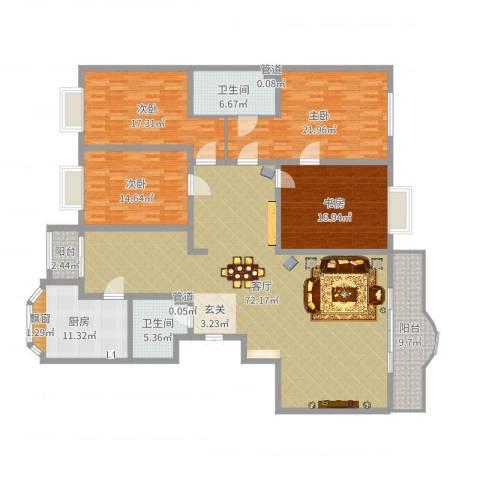 西安锦园4室1厅2卫1厨223.00㎡户型图