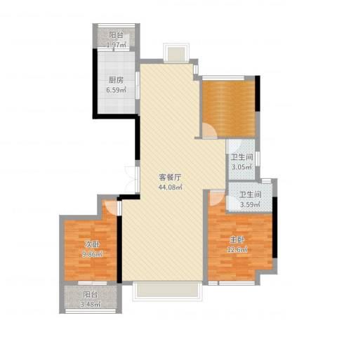 益阳铂金汉宫2室2厅2卫1厨117.00㎡户型图