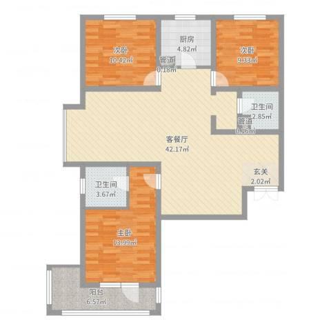 锦江华庭3室2厅2卫1厨118.00㎡户型图