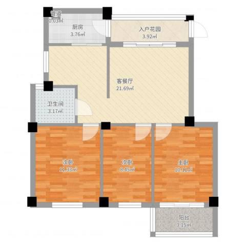 美中城3室2厅1卫1厨82.00㎡户型图