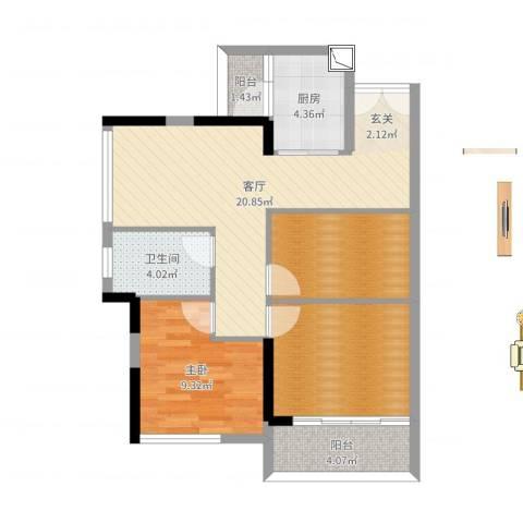 佳兆业水岸豪门1室1厅1卫1厨77.00㎡户型图