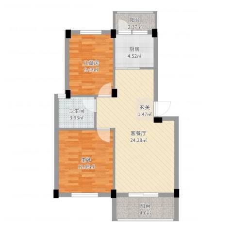 美中城2室2厅1卫1厨76.00㎡户型图