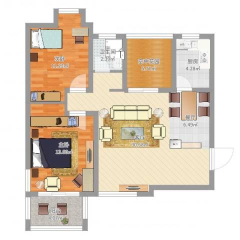 融侨天骏2室1厅1卫1厨103.00㎡户型图