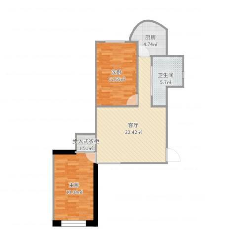 红梅小区2室1厅1卫1厨81.00㎡户型图