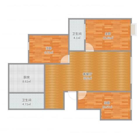 园丁小区3室2厅2卫1厨101.00㎡户型图