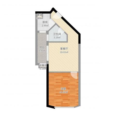绿苑商城1室2厅1卫1厨52.00㎡户型图