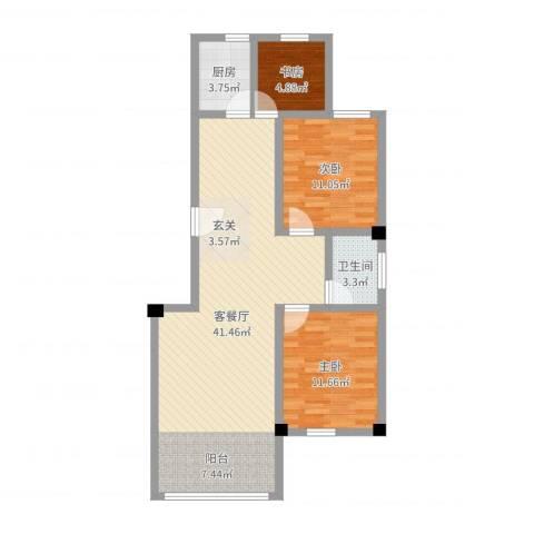 海棠铭居3室2厅1卫1厨95.00㎡户型图