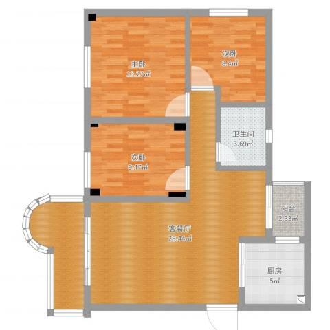 宝安泰安花园3室2厅1卫1厨96.00㎡户型图