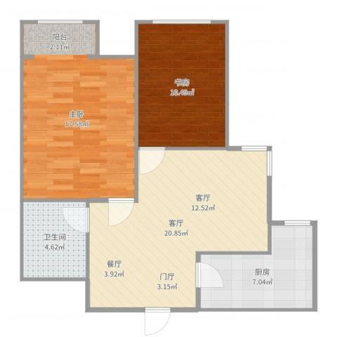 泰安盛世郡2室1厅1卫1厨76.00㎡户型图