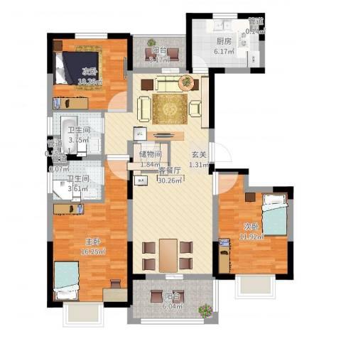 万锦豪庭3室2厅2卫1厨117.00㎡户型图