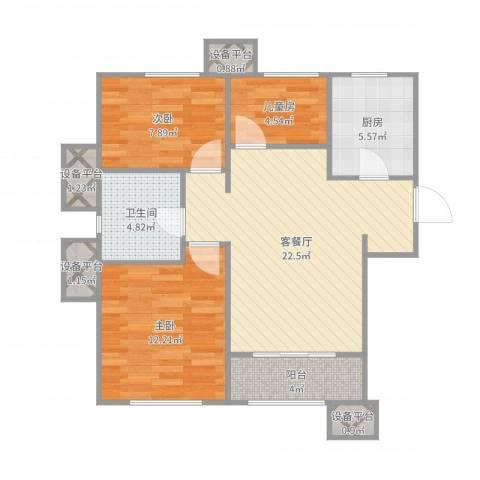 海昌·天澜3室2厅1卫1厨82.00㎡户型图